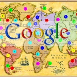 colorful global map with the words Google on top