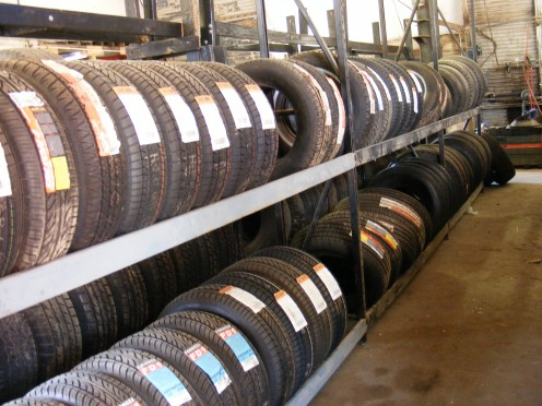 A row of tires at the old family tire store.