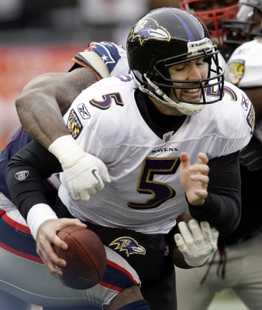 Mark Anderson sacks quarterback Joe Flacco and helps the Patriots defense who actually wins the AFC Championship for the Patriots.
