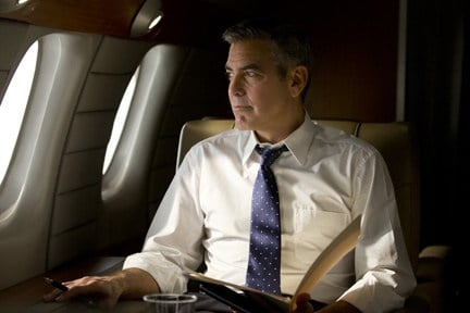 "Clooney flies the unfriendly skies in ""The Ides of March."""