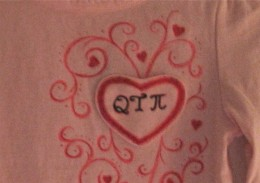 Embellished Valentine's Day Heart on a Tiny T-Shirt.