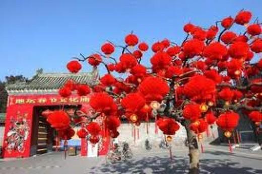 Red round lanterns