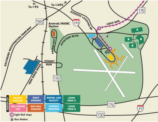 BWI parking map