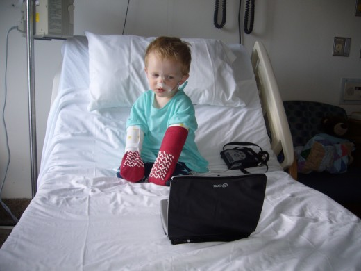 Our son during his first pH impedance probe study: while we identified the presence of severe acid reflux, we have had great difficulty in controlling it.