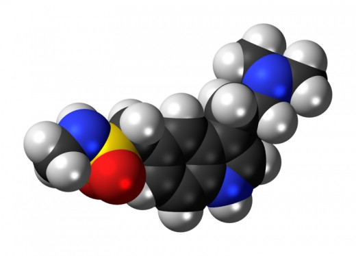 A molecular model of the migraine drug sumitriptan, available as a combination drug with naproxen since April 2008.
