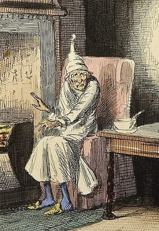 Ebeneezer Scrooge in his nightcap and nightgown