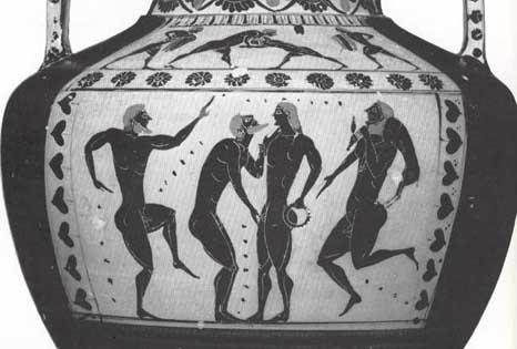 ancient Greek pot depicting homosexual seduction scene