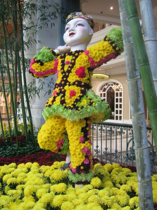 Chinese child made almost entirely of fresh flowers. Children are especially thrilled by the Celebration of Chinese New Year. All of these pictures were taken at the Bellagio Hotel Conservatory in Las Vegas.