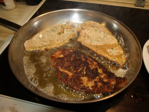 Continue frying and and turning and removing the cutlets until they are all done.