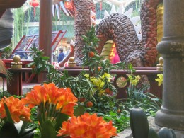 The dragon's on display are surrounded by beautiful fresh flowers. It's really a stunning display, well worth checking out when one is visiting Las Vegas.