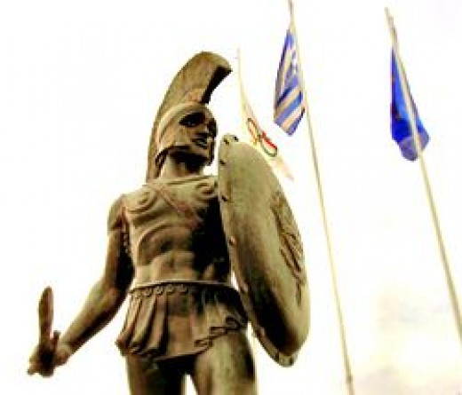 King Leonidas' bronze statue in Greece