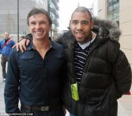 Gary Speed at left, with fan, less than 24 hours before he killed himself