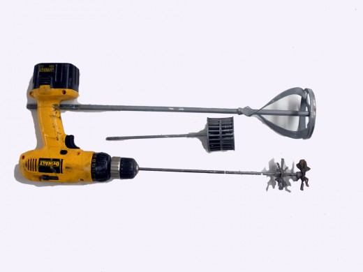 Drill-driver mixers are best for large buckets
