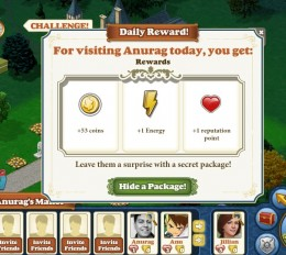 Click on Hide package to place a green travelling bag near your Fb friend's estate