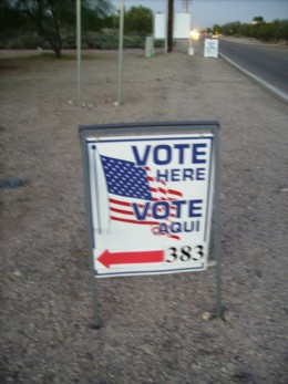Entrance to Voting Booth in Tucson, Arizona
