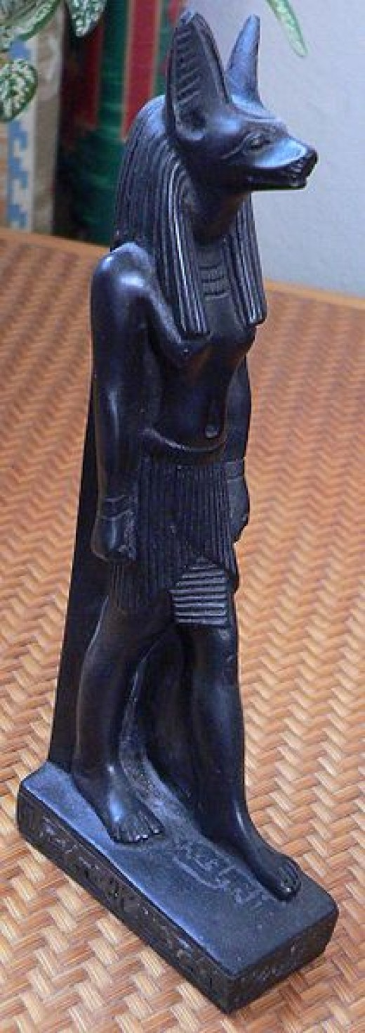 Antique Statuette of Anubis, the Ancient Egyptian God of Death