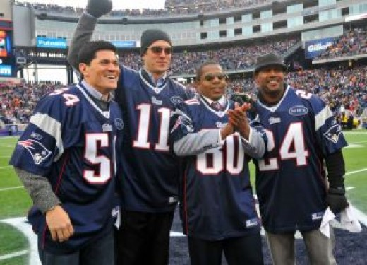 Teddy Bruschi, Drew Bledsoe, Troy Brown, and Ty Law were named honorary captains on the15th anniversary of the 1996 AFC Champion before the game Sunday, when the Patriots took home another AFC title.