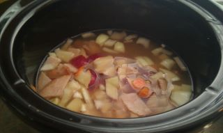 the ingredients smell so good in the slow cooker all day