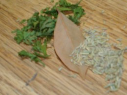dried parsley, bay leaf, dried rosemary
