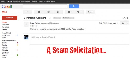 An innocent looking SCAM EMAIL