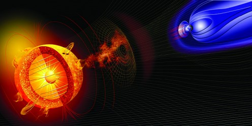 Picture/Diagram of a solar storm impacting Earth and its magnetic shield.