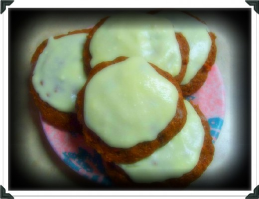 Carrot cake mix cookies with icing!