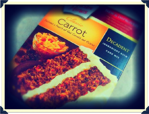 Duncan Hines Carrot Cake mix with real carrots and raisins.