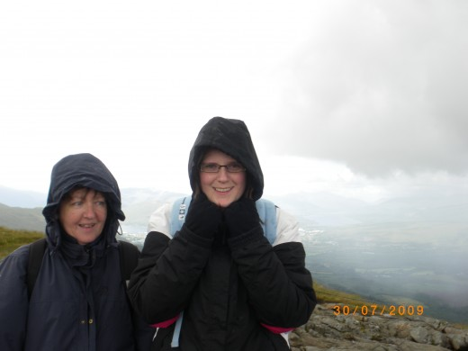 Half way up Ben Nevis; the highest mountain in the U.K, with my aunt.