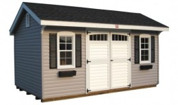This Colonial Quaker shed has a 10x16 ft footprint, gray vinyl siding, and optional black flower boxes to match the shutters.