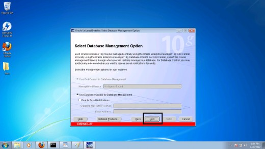 Step 9: Selecting database management option