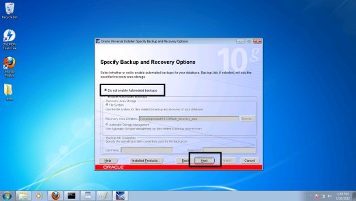 Step 11: Choosing a backup and recovery option