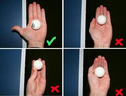 Hand position is all important in the Table Tennis serve.
