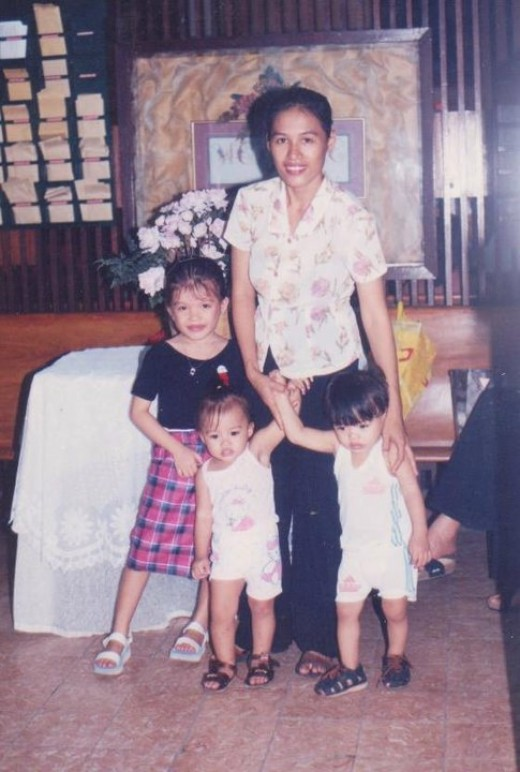 My daughter-in-law and my three grandchildren when the children were very small. Ma'am Veron had helped my daughter-in-law in a lot of ways.