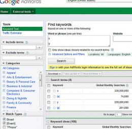 The Google Keywords Tool