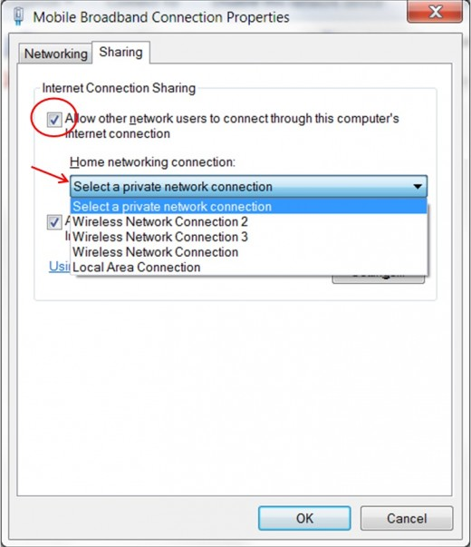 In sharing tab select the checkbox and select a connection over which you want to  share internet