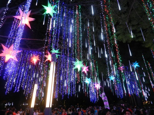 Crowds gather in Ayala Triangle Gardens in Manila to enjoy with amazing spectacle of lights during the holidays.