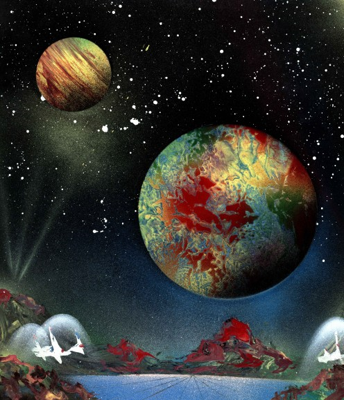This is one of the first Space paintings I painted.  Probably the best set of planets I've ever done.