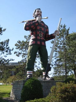 The Paul Bunyan statue in Bangor, Maine.  It's probably the inspiration for the Paul Bunyan statue in the book, IT.