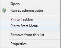 "Pin your programs to the Start menu by right-clicking the launch file and then selecting ""Pin to Start Menu"" from the context box that appears."