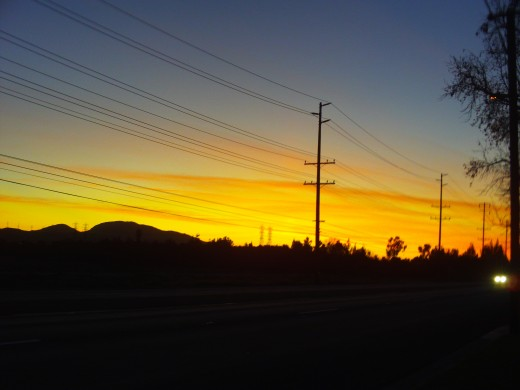 An orange tinged Southern California sunset that inspired my heart sunset card.