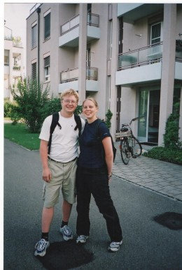 Me and my boyfriend outside the house, where I lived in Winterthur, Switzerland.