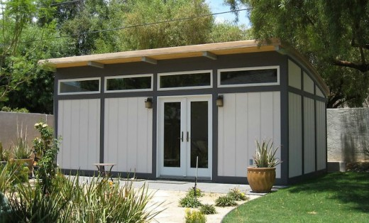 A Maxwell unit converted into a backyard office, a common use of prefab cabins and cottages.