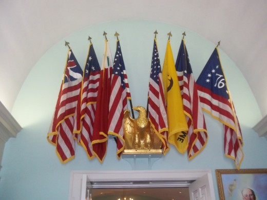 Flags over the entrance of the chapel at Valley Forge Military Academy