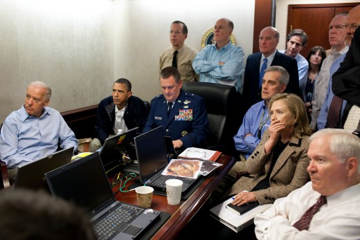 The white house situation room as members of the security team watch events inside the Bin Laden Compound. Photo by Pete Sauza