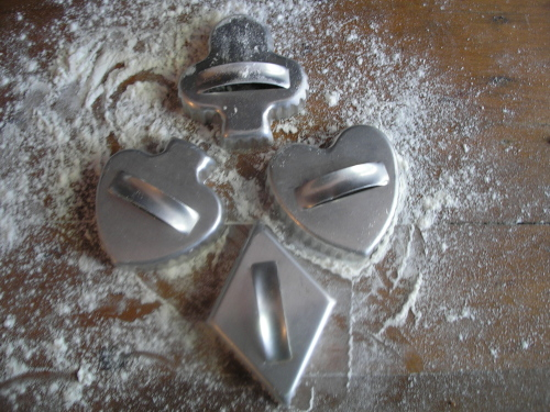 Bridge was a popular game.  Many couples got together on Saturday nights to play cards and eat cookies made with these bridge cookie cutters