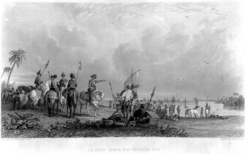 De Soto's expedition unloading from the ships at Tampa Bay  1539.