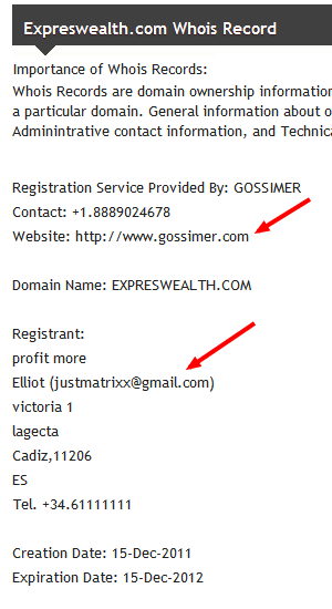 "JustMatrixx@gmail. turns out to be this ""Eliott"" from Spain, who hosted a bunch of these ""HYIP"" financial pyramid schemes."