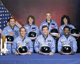 STS-51-L crew: (front row) Michael J. Smith, Dick Scobee, Ronald McNair; (back row) Ellison Onizuka, Christa McAuliffe, Gregory Jarvis, Judith Resnik.