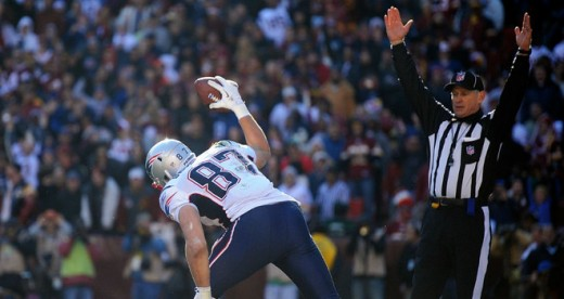 Rob Gronkowski scores one of his multiple touchdowns with his famed Gronk Ground Pound.
