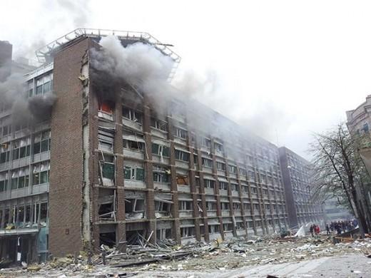 The Oslo bomb explosion, ground level.
